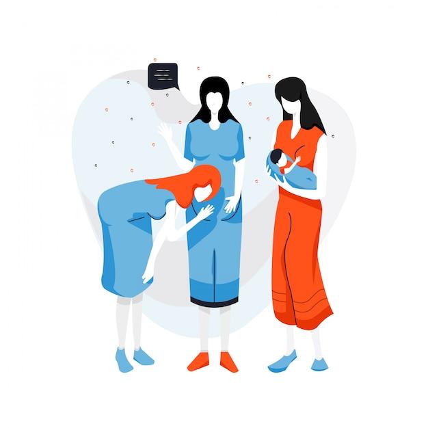 Nette flache gruppe der schwangeren frau der illustration. schwangerschaftskarikatur-vektorillustration. Premium Vektoren