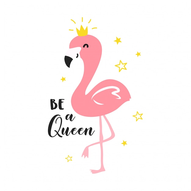 Nette flamingoköniginillustration Premium Vektoren