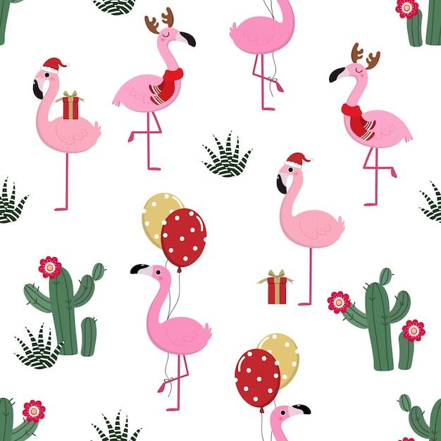 Nette flamingos im weihnachtsnahtlosen muster Premium Vektoren