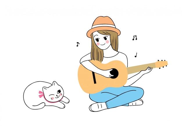 Nette frau der karikatur, die gitarre und katze spielt. Premium Vektoren