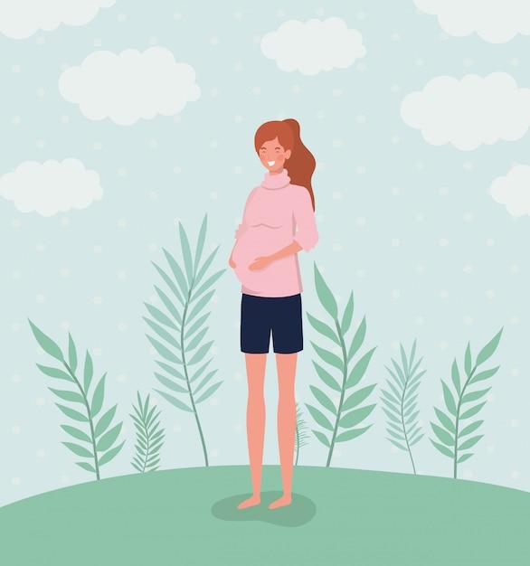 Nette frauenschwangerschaft in der landschaft Kostenlosen Vektoren