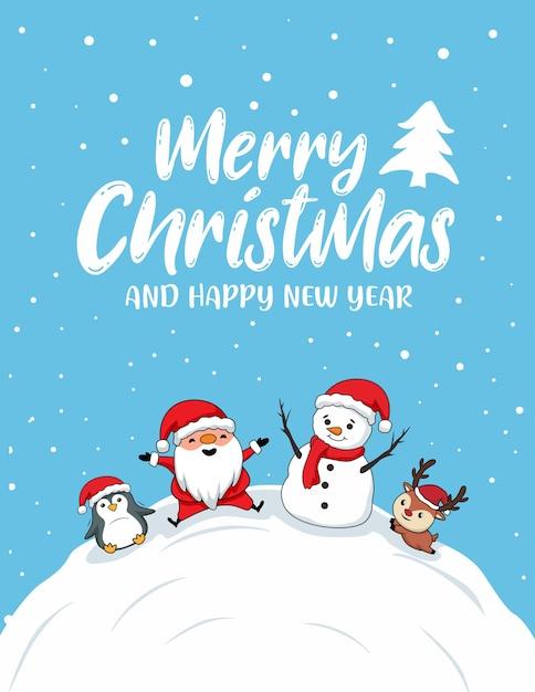 Nette frohe weihnachtskarten Premium Vektoren