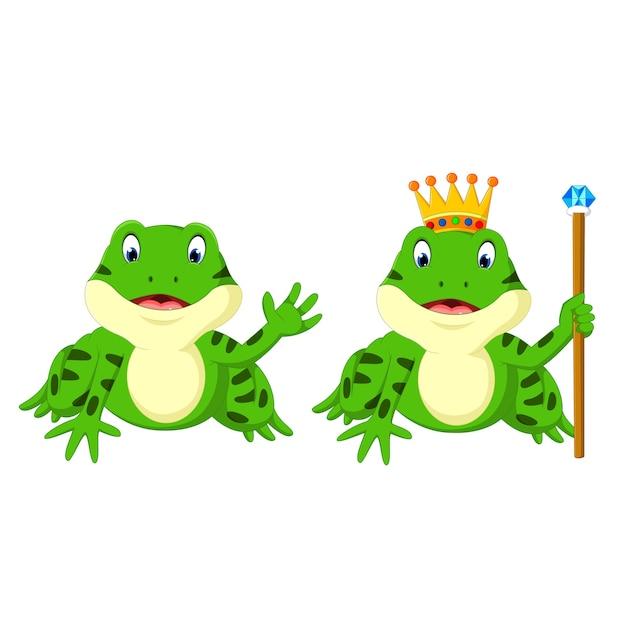 Nette froschkarikatur Premium Vektoren