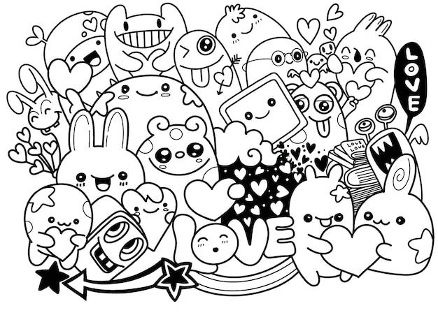 Nette furchtsame halloween-monster und süßigkeit, hand gezeichnete linie kunstkarikatur-vektorillustration Premium Vektoren