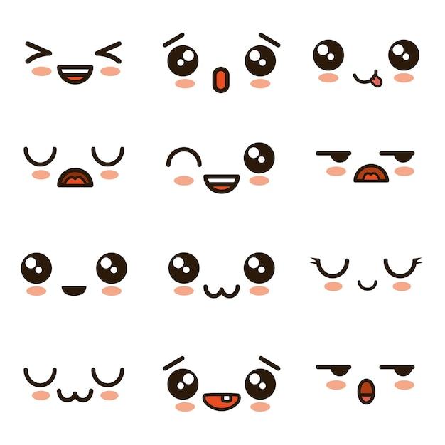 Nette gesichter kawaii emoji karikatur Premium Vektoren