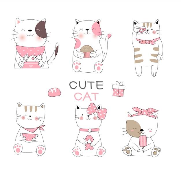 Nette gezeichnete art der babykatzenkarikatur hand Premium Vektoren