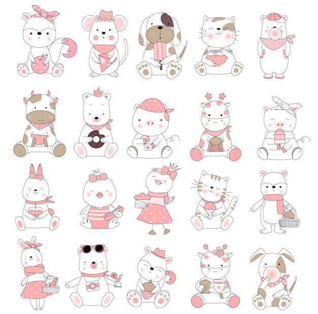 Nette gezeichnete art der babytierkarikatur hand Premium Vektoren