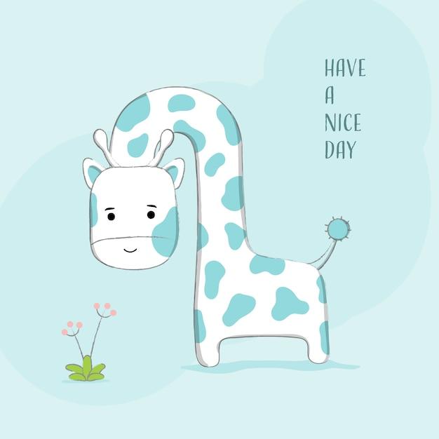 Nette gezeichnete art der giraffe hand Premium Vektoren