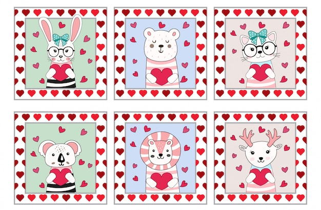 Nette gezeichnete art der valentinsgrußtierkarikatur hand Premium Vektoren