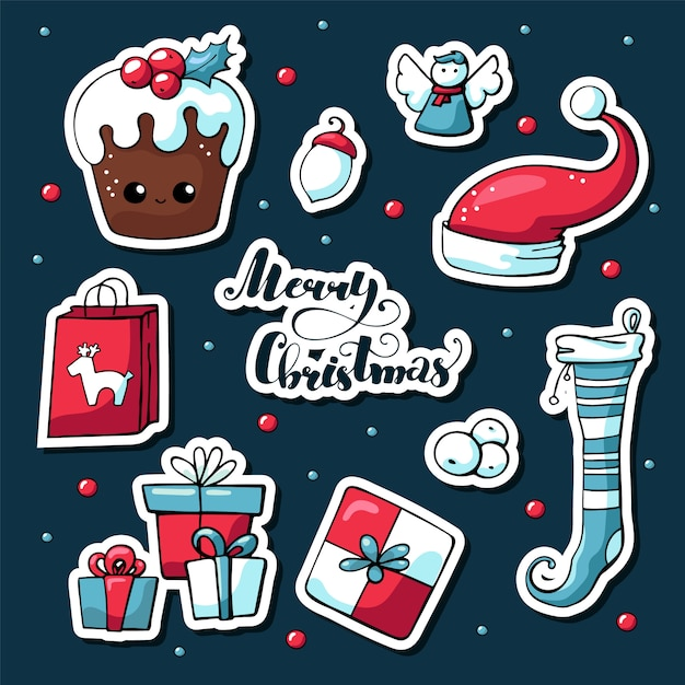 Nette gezeichnete bilder des vektors hand von weihnachtselementen mit beschriftung Premium Vektoren