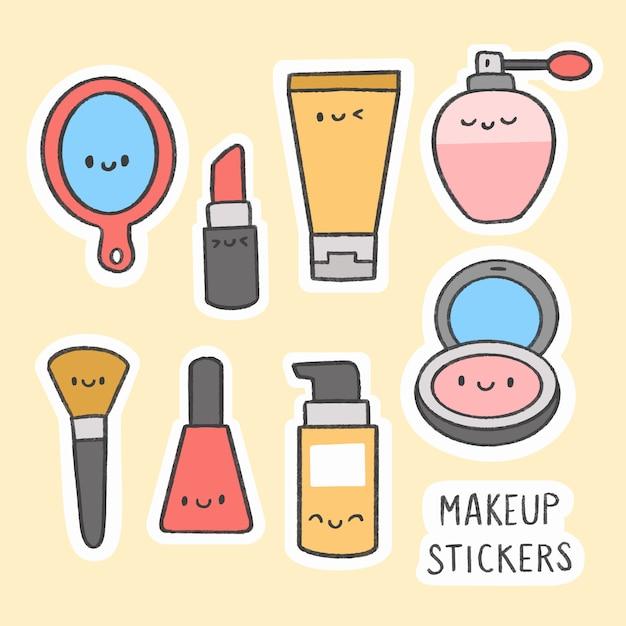 Nette gezeichnete karikatursammlung des make-upaufklebers hand Premium Vektoren