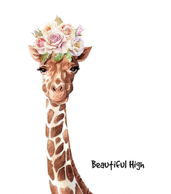 Nette giraffe des aquarells mit blumenstraußblume auf kopf. Premium Vektoren