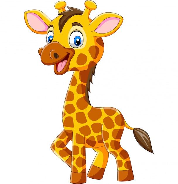 Nette giraffenkarikatur lokalisiert auf weißem hintergrund Premium Vektoren