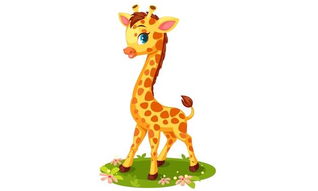 Nette giraffenkarikatur-vektorillustration Kostenlosen Vektoren