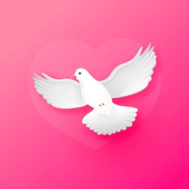Nette glänzende weiße taube, die weise oben auf rosa für valentinstag fliegt Premium Vektoren