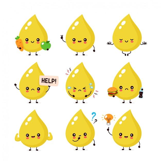 Nette glückliche lächelnde urintropfen-zeichensatzsammlung. urin-charakter-konzept Premium Vektoren