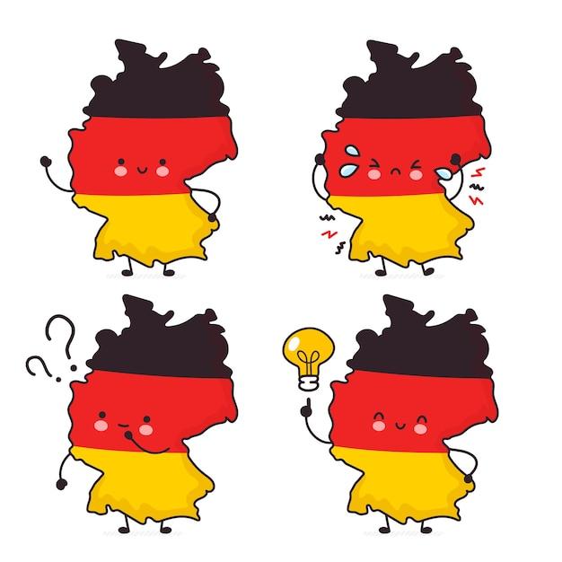 Nette glückliche lustige deutschlandkarte und flaggenzeichensatzsammlung. linie karikatur kawaii charakter illustration symbol. auf weißem hintergrund. deutschland-konzept Premium Vektoren