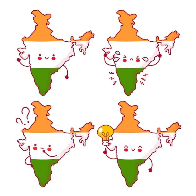 Nette glückliche lustige indien-karten- und flaggenzeichensatzsammlung. linie karikatur kawaii charakter illustration symbol. auf weißem hintergrund. indien-konzept Premium Vektoren