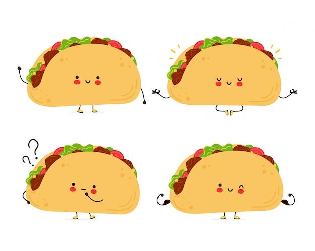 Nette glückliche lustige taco-set-sammlung. hand gezeichnete artillustration der zeichentrickfigur Premium Vektoren