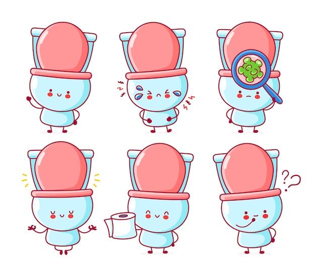 Nette glückliche lustige toilettenset-sammlung. linie karikatur kawaii charakter illustration symbol. auf weißem hintergrund Premium Vektoren