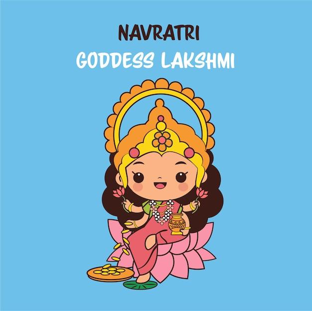 Nette göttin laksami zeichentrickfigur für navratri festival in indien Premium Vektoren