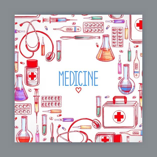 Nette grußkarte mit medizinischen vorräten. handgezeichnete illustration Premium Vektoren