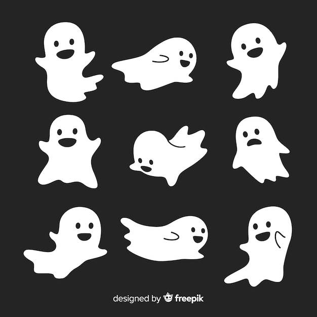 Nette halloween-geister sammlung in verschiedenen posen Kostenlosen Vektoren