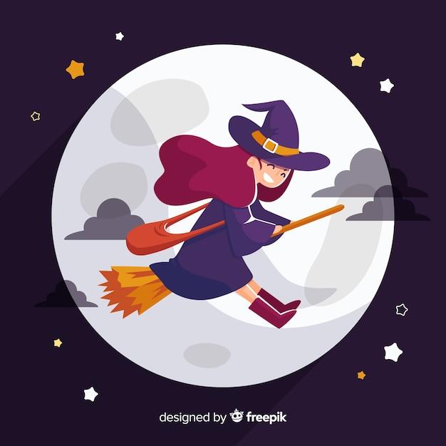 Nette halloween-hexe auf besen Kostenlosen Vektoren