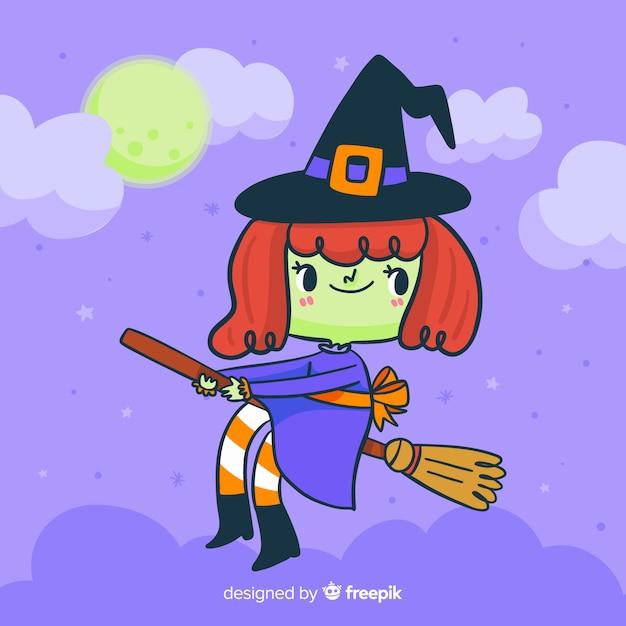 Nette halloween-hexe auf einem besen Kostenlosen Vektoren