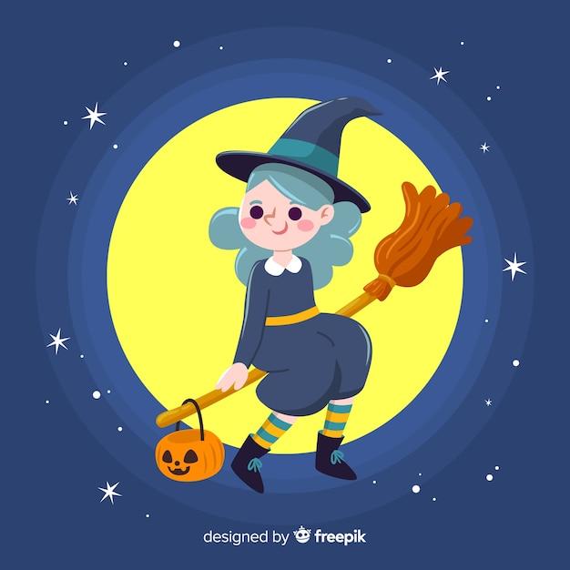 Nette halloween-hexe, die auf einem besen in der nacht sitzt Kostenlosen Vektoren