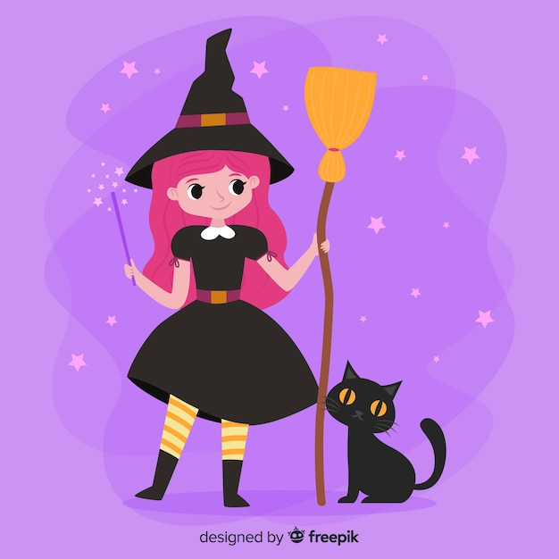 Nette halloween-hexe mit besen und katze Kostenlosen Vektoren
