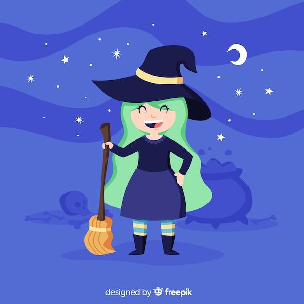 Nette halloween-hexe mit einem besen Kostenlosen Vektoren