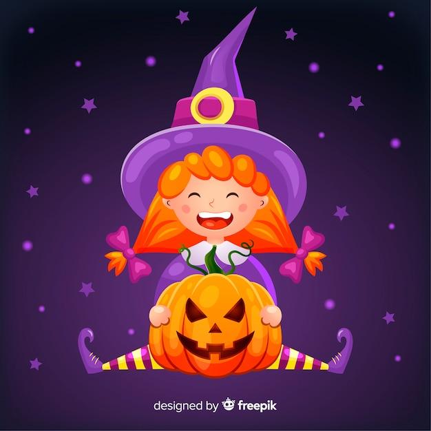 Nette halloween-hexe mit einem kürbis Kostenlosen Vektoren