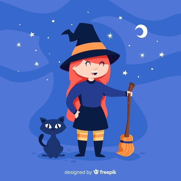 Nette halloween-hexe mit einer schwarzen katze Kostenlosen Vektoren