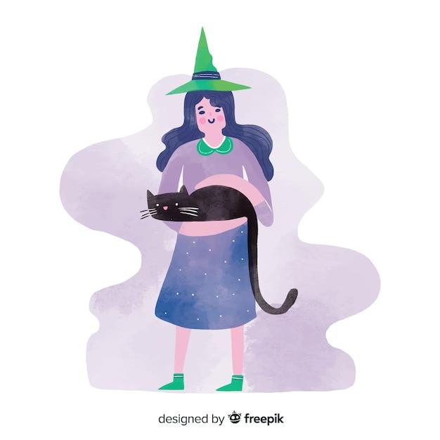 Nette halloween-hexe mit schwarzer katze Kostenlosen Vektoren