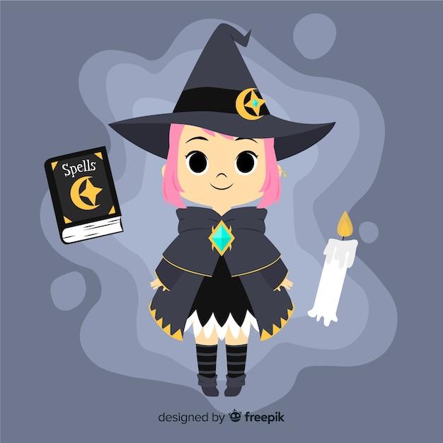Nette halloween-hexe mit zauberbuch Kostenlosen Vektoren