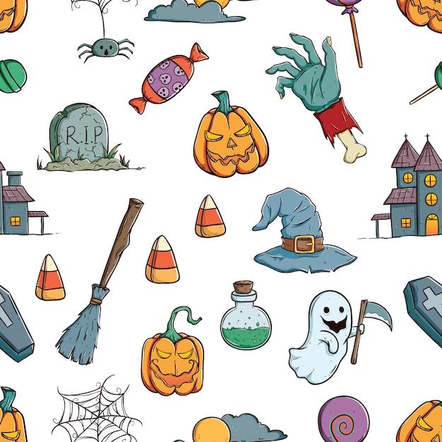 Nette halloween-ikonen oder elemente im nahtlosen muster mit der gezeichneten farbhand oder gekritzel ar Premium Vektoren