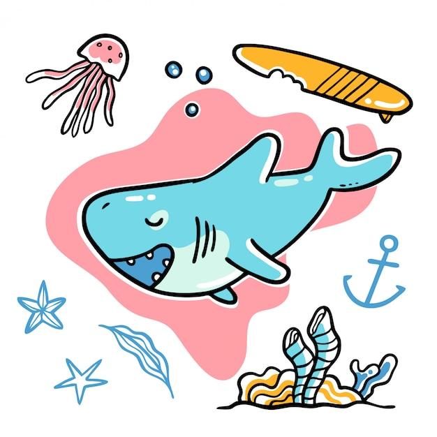 Nette hand gezeichnete hai-seeunterwasservektor-illustration Premium Vektoren