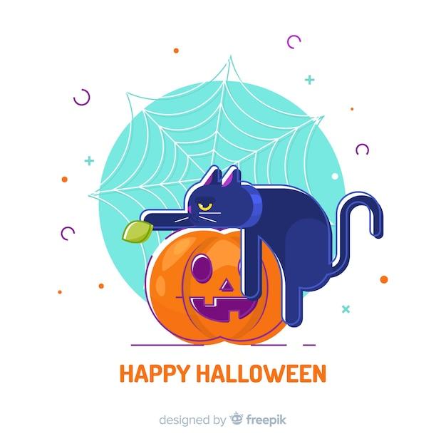 Nette hand gezeichnete halloween-katze, die auf einem kürbis sitzt Kostenlosen Vektoren