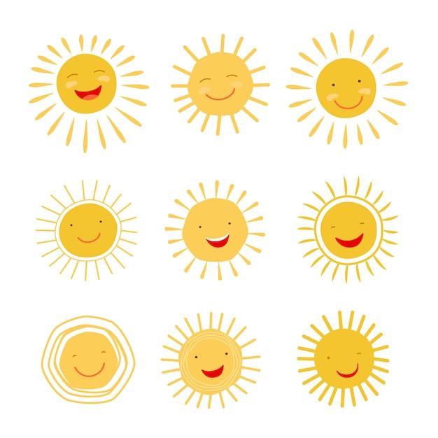 Nette hand gezeichneter lächelnder und glänzender sonnencharakter Premium Vektoren