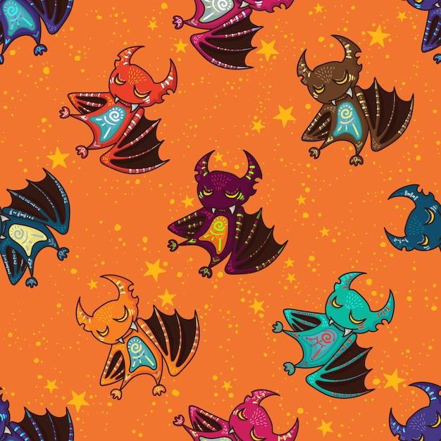 Nette hand gezeichnetes stammes- schlägermuster für glückliches halloween Premium Vektoren