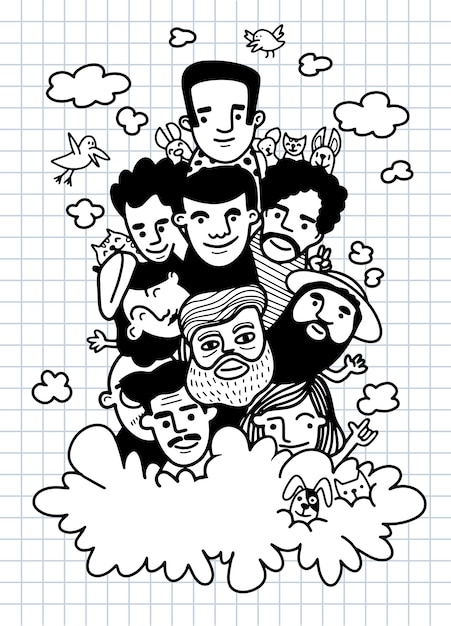 Nette handgezeichnete kritzeleien, gesicht leute skizzieren menge der lustigen völker, jedes auf einer separaten ebene. illustration für malbuch Premium Vektoren