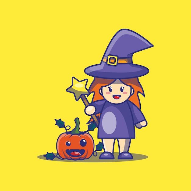 Nette hexen- und kürbiskarikaturillustration. halloween icon konzept. Premium Vektoren