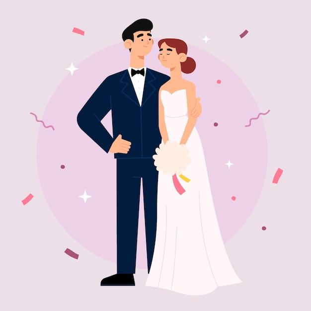 Nette hochzeitspaare, die heiraten Kostenlosen Vektoren