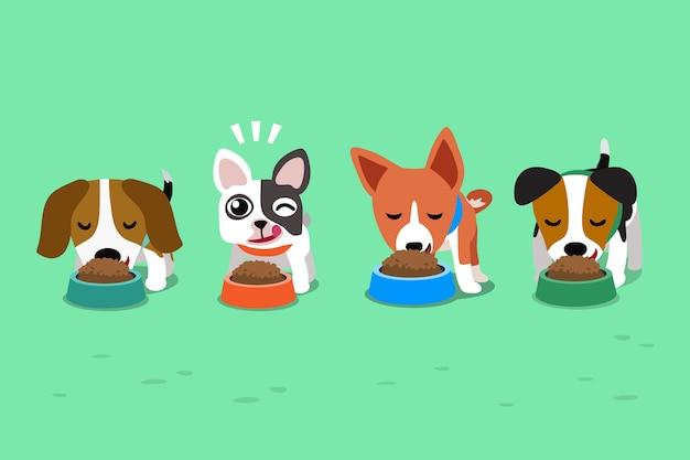 Nette hunde der karikatur mit nahrungsmittelschüsseln Premium Vektoren