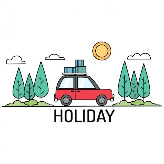 Nette ikonen des feiertags mit auto in der waldillustration Premium Vektoren