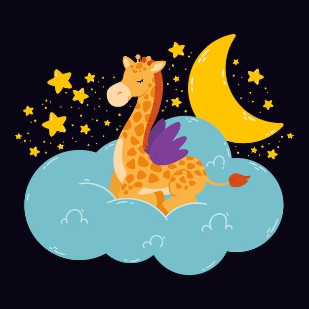 Nette illustration mit giraffe, mond, sternen, wolke auf einem dunklen hintergrund. druck für babyzimmer, grußkarte, kinder- und baby-t-shirts und kleidung, frauen tragen. hand gezeichnete kindergartenillustration. Premium Vektoren