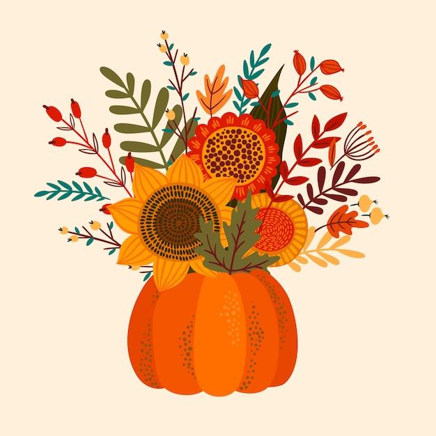 Nette illustration mit herbstblumenstrauß. Premium Vektoren