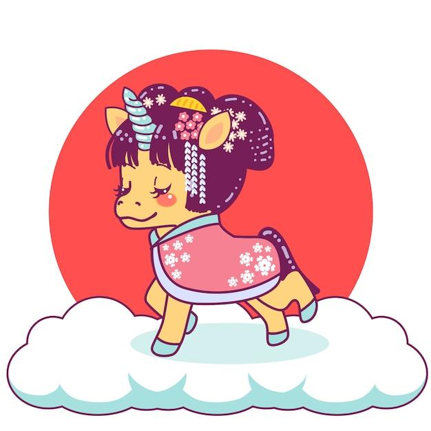 Nette japanische einhorn-geisha Premium Vektoren