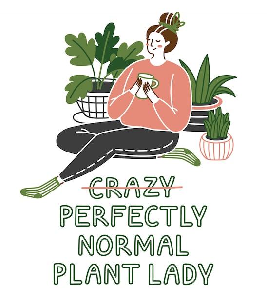 Nette junge frau, die auf dem boden mit den anlagen wachsen in den töpfen sitzt. verrückte pflanzendame. Premium Vektoren
